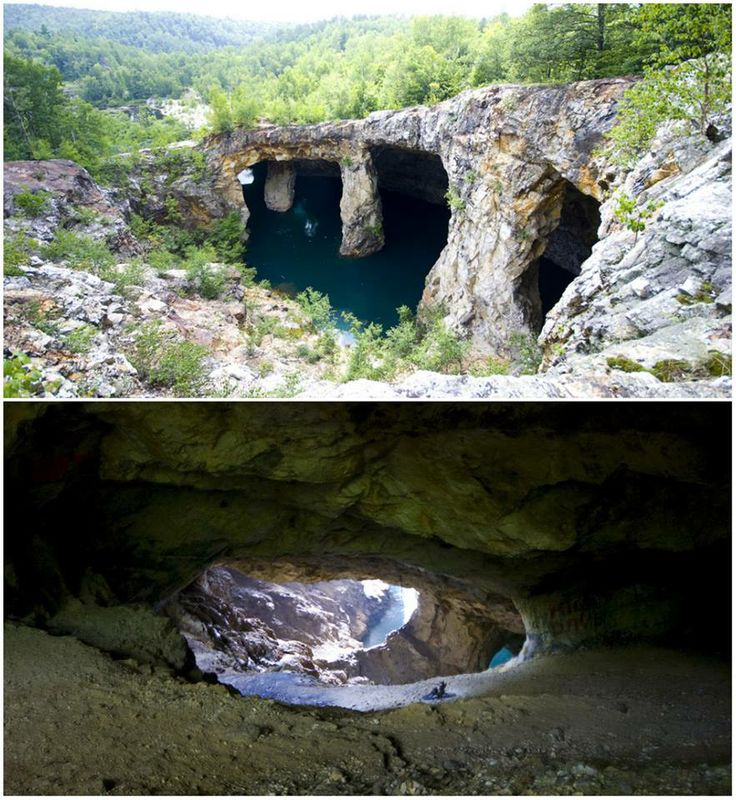 Once the largest mine in North America, this man-made cave system now lies abandoned. Its crystal clear water has made it a prime swimming attraction..