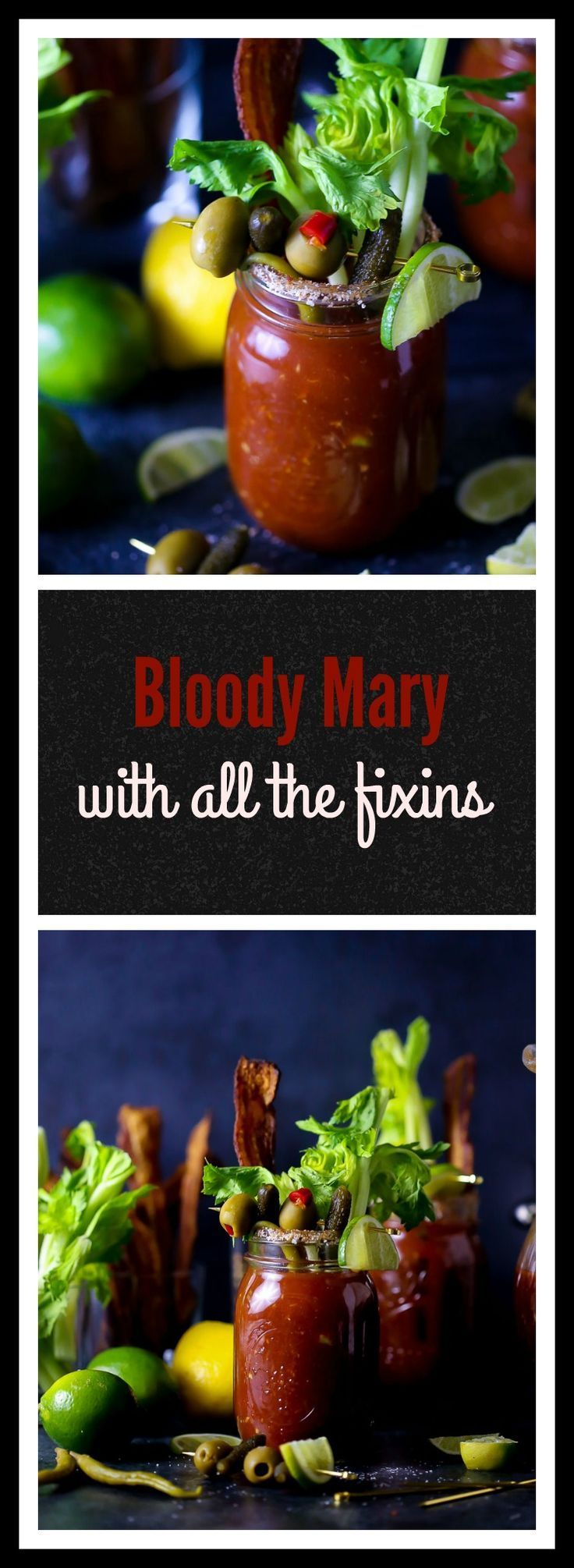 Boozy brunch made perfect….pour yourself a zesty bloody mary in a spicy rimmed glass with All. The. Fixins.