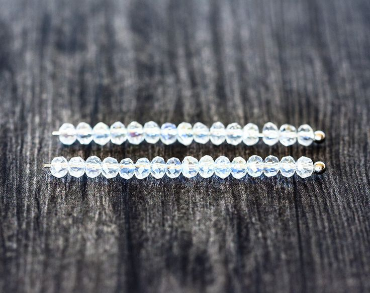 2113_White AB crystal beads 3x2 mm, Transparent glass beads, Faceted roundel…