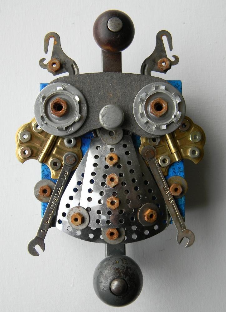 """Metal Bug"" -Recycled art collage    www.jen-hardwick.com:"
