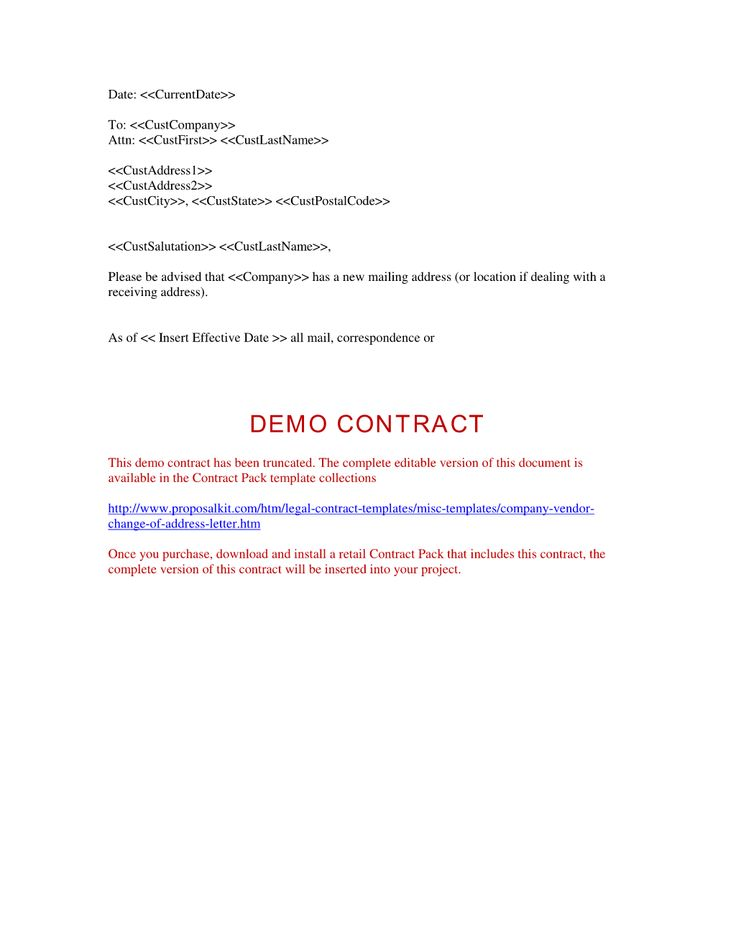 Company Vendor Change Of Address Letter The Company Vendor – Address Change Letter Template