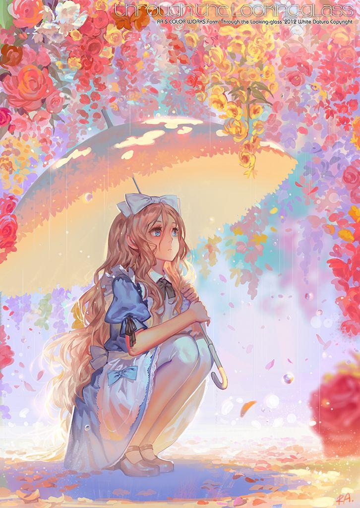 Sun Rain | RA [pixiv] http://www.pixiv.net/member_illust.php?mode=medium&illust_id=29857198 Una imagen preciosa! No me suele gustar la temática de Alice in Wonderland, pero es una ilustración maravillosa