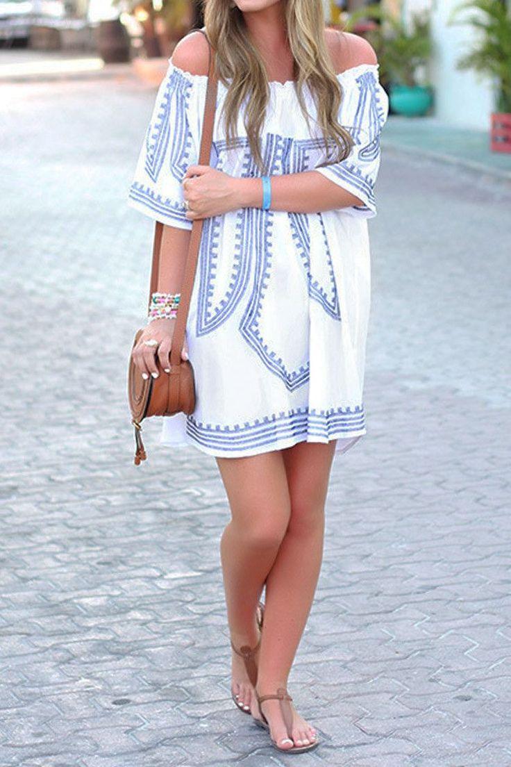 Boho tunic top blouses and dress 4009 trendy boho vintage gypsy - Cupshe Fringe Life Off Shoulder Tunic Dress