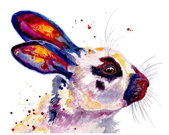 Konijn aquarel Fine Art Print 8 x 10 aquarel konijn afdrukken Bunny Print konijn schilderij Bunny schilderij konijn kunst