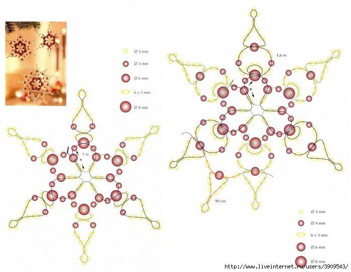 Большая подборка бисерных снежинок. Обсуждение на LiveInternet - Российский Сервис Онлайн-Дневников
