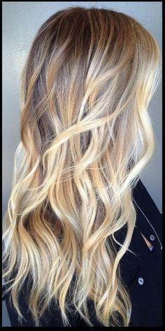 balayage highlights brunette to blonde.