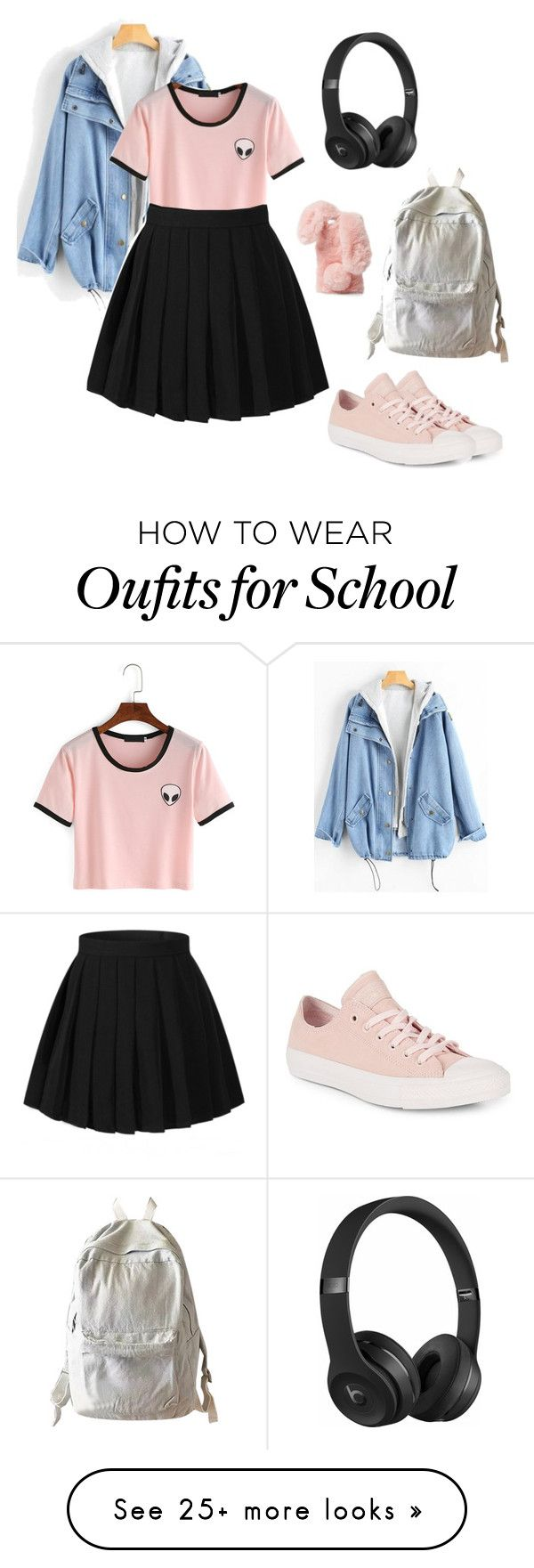 """Nuteral Alien"" by clevver on Polyvore featuring Converse, WithChic, Ashlyn'd and Beats by Dr. Dre"