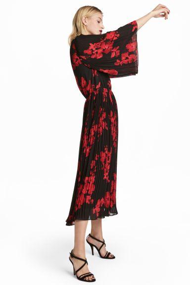Chiffon jurk - Zwart/rode bloemen - DAMES | H&M BE