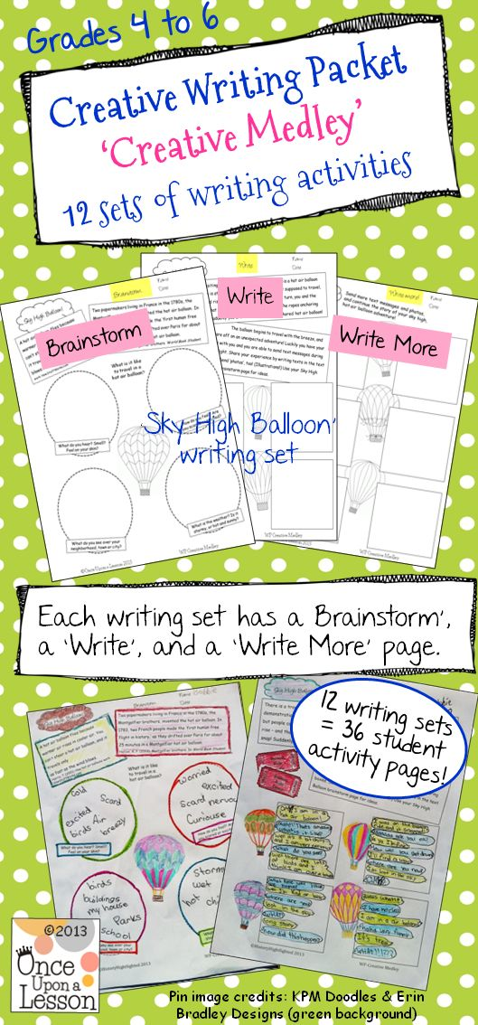 A fun, creative writing packet for grades 4, 5 & 6. Twelve creative writing topics / sets, with 3 pages each set (so 36 student activity pages). Each set has a 'brainstorm', 'write', and 'write more' page. Makes a fun creative writing notebook! $ #CreativeWriting #Printables #WritingNotebook