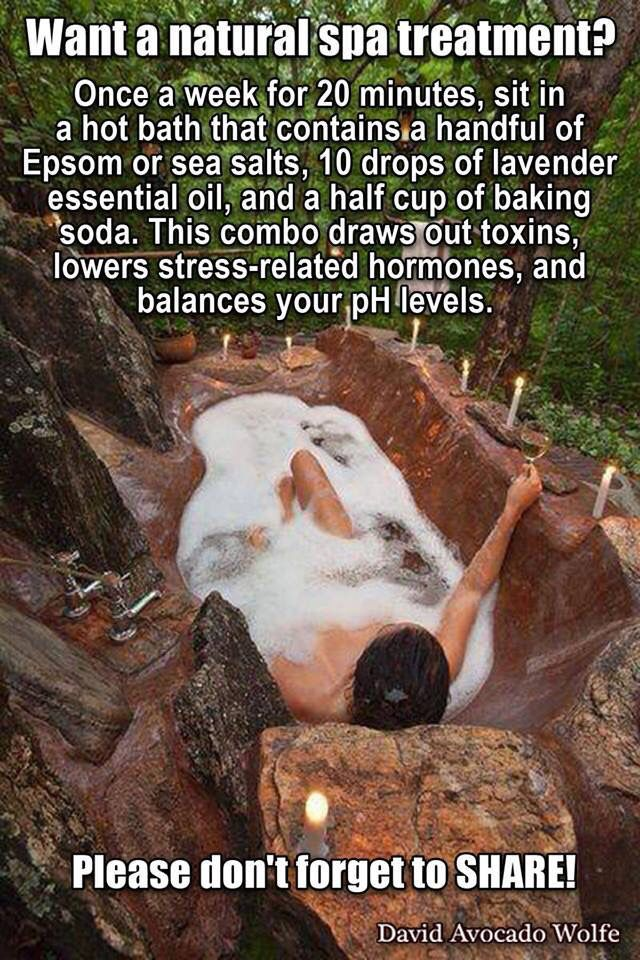 At-home spa treatment with Epsom salts, baking soda and essential oils.
