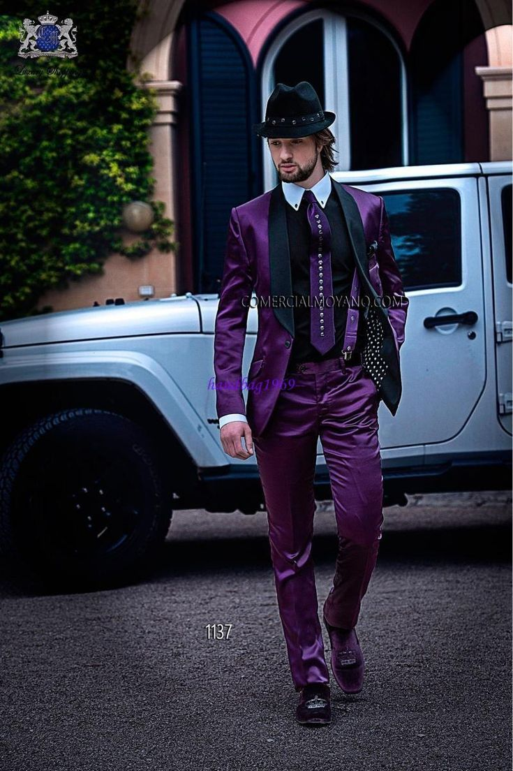 Shiny Purple Satin Groom Tuxedos One Buttons Shawl Collar Best Man Blazer Lovely Mens Wedding Suits Jacket+Pants+Bowtie+Handkerchief A1265 Tuxedos For Men Tuxedos For Sale From Handbag1969 , $78.54| Dhgate.Com