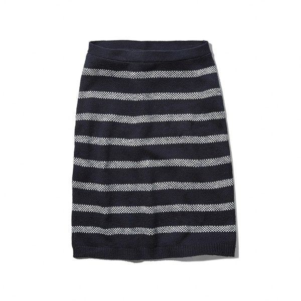 Abercrombie & Fitch Carley Skirt (98 BRL) ❤ liked on Polyvore featuring skirts, navy and white stripe, stripe pencil skirt, navy and white striped skirt, fitted skirts, striped pencil skirt and stripe skirts