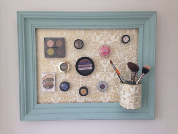 Super handy to have hanging in your bathroom, or on bedroom wall. No more digging through your makeup bag for makeup that you use everyday!  Frame