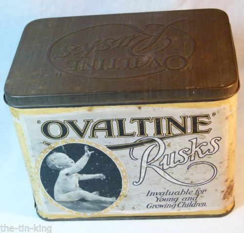 RARE-VINTAGE-EMBOSSED-OVALTINE-RUSKS-BISCUIT-TIN-C1930S-BABY-CHILD-FAMILY-IMAGE