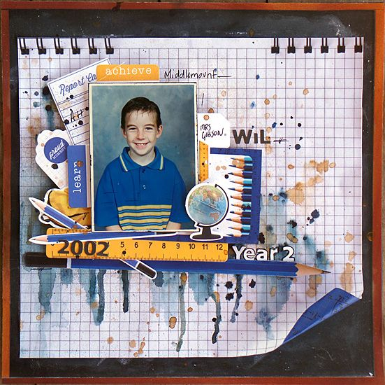 """""""Year 2"""" layout by Michelle Grant for Kaisercraft using """"2 Cool 4 School"""" ~ Scrapbook Pages 1."""