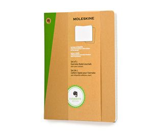 Moleskine | Evernote Journal (Set of 2) with Smart Stickers - Extra Large Ruled Soft Cover Kraft - or write your own story...