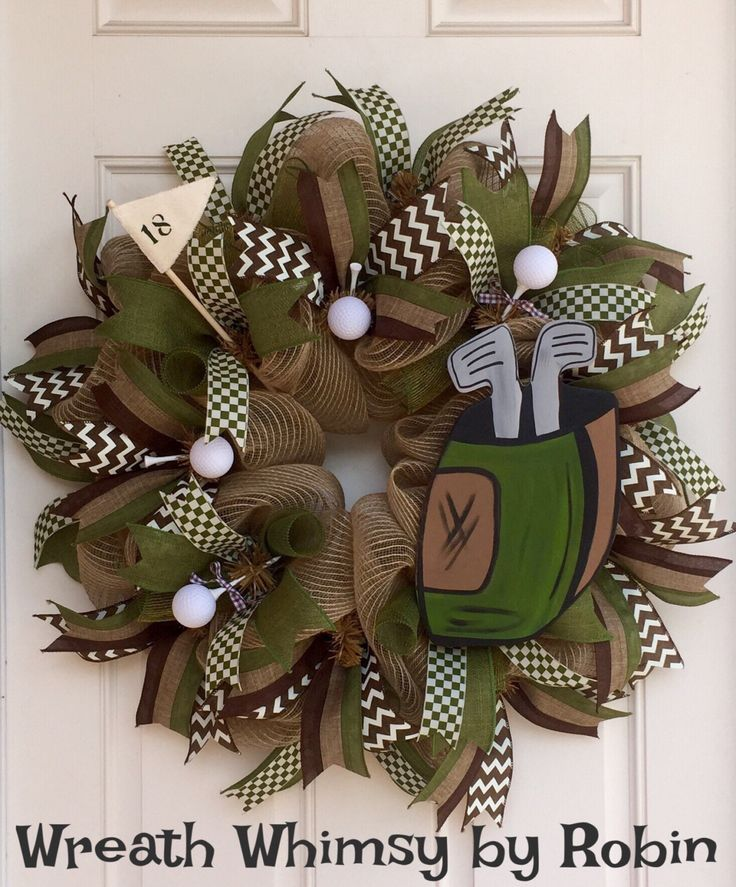 Burlap Mesh Golf Themed Year Round Sports Wreath With Brown and Green and Hand Painted Golf Bag, Father's Day, Gift for Golfer by WreathWhimsybyRobin on Etsy