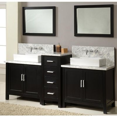 Direct Vanity Horizon Premium 84″ Ebony Bathroom Vanity with White Carrera Marble top and mirrors 7080D1-EWC