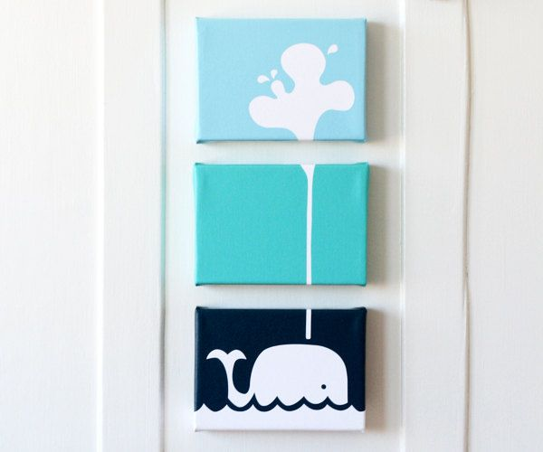 I thought this was so cute and different! It's pretty pricey, but would be such an easy project to do yourself. You could just buy three canvases at michael's, paint them in three different shades of blue, and then paint the whale and sprout in white!