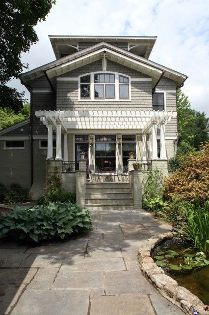 a house in a gardenIdeas, Pergolas, Company Architects, Craftsman Exterior, Exterior Colors, Curb Appeal, Traditional Exterior, House, Front Porches