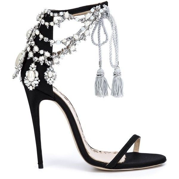 Marchesa 'Marissa' sandals ($1,960) ❤ liked on Polyvore featuring shoes, sandals, heels, sapatos, marchesa, black, black shoes, black satin shoes, black heeled shoes and black heeled sandals