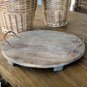 Round Wood Wine Cellar Tray With Handles