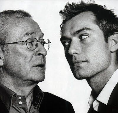 "A photo of the two ""Alfies""- Michael Caine and Jude Law - by photographer David Bailey."