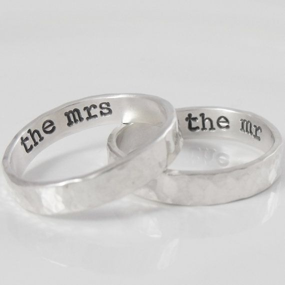 His and hers personalized rings. Sterling silver couples wedding rings. 4mm sterling band rings. Hammered texture with hidden message.