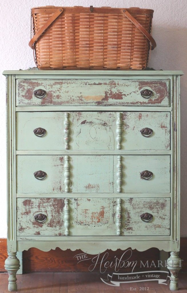 Lovely Dresser Makeover...in Miss Mustard Seed's Luckett's Green paint...by The Heirloom Market.