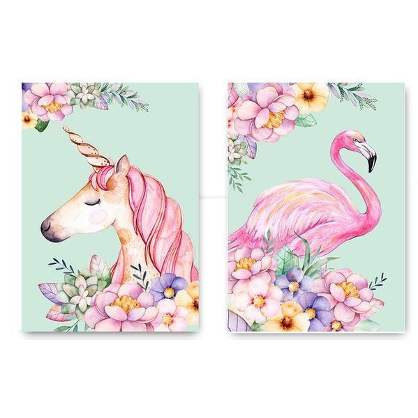 Cover Cartoon unicorn baby flamingos