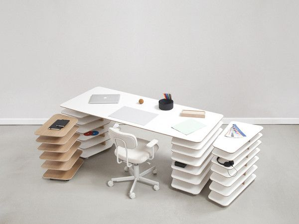 Interlocking Shelves And Table Top For Flexible Desk Design   Strates By  Objekten Awesome Design