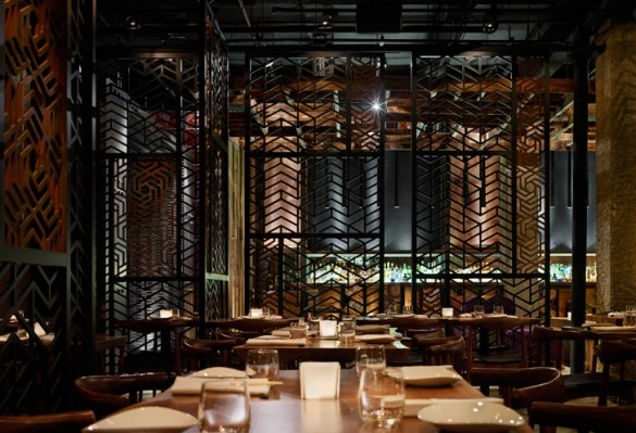 Ame restaurant partition wall interior design