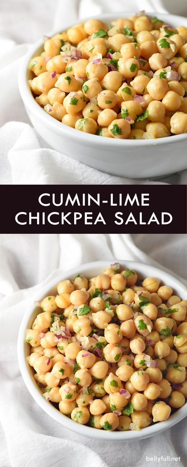 Cumin-Lime Chickpea Salad - a ridiculously easy and healthy side salad that requires no cooking, comes together in 15 minutes, and for under $5.00