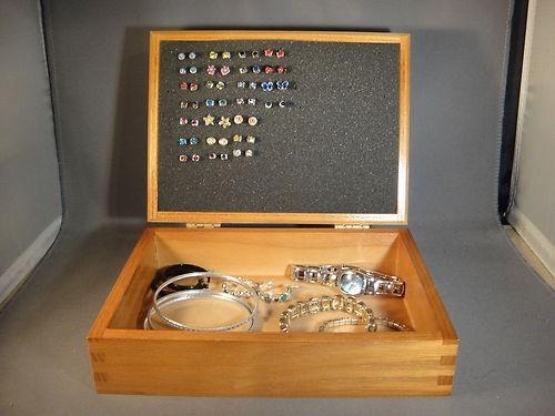 Stud Earring Holder Earring Organizer Made in USA EZ Use Earring Box Wooden | eBay