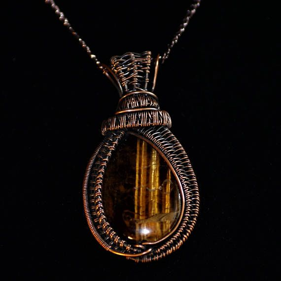 Tiger's Eye & Woven Antiqued Copper Pendant.