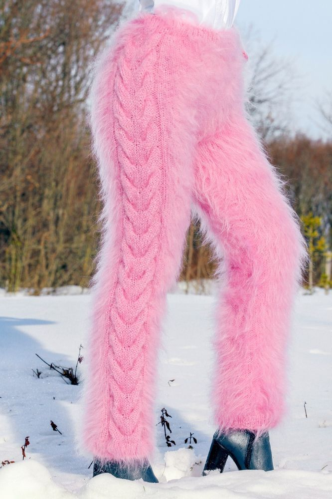 SUPERTANYA PINK hand knitted mohair pants fuzzy trousers handmade leg warmers  #SuperTanya #Casual