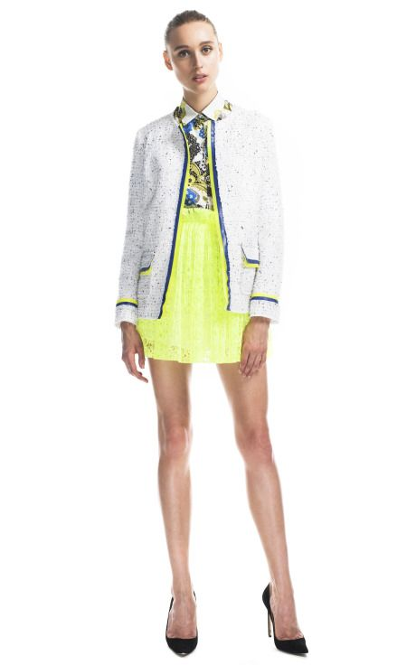 MSGM Resort 2013: Neonz Moda, Runway Fashion, Msgm Neonz, Neon Trim, Collarless Jackets, Msgm Resorts, Fashion Trends, Fluoro Trim, Bouclé Jackets