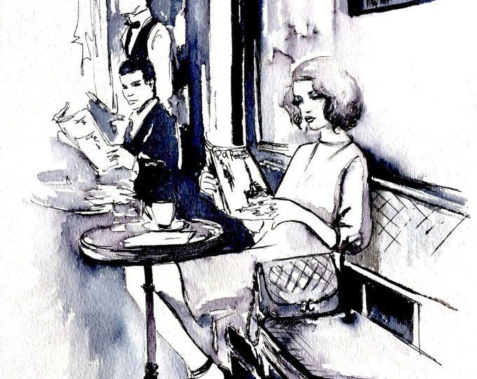Cafe en Paris ilustración - niña parisina de pintura Romance parisino - arte de Lana Moes - Original - Cafe parisino Cityscape