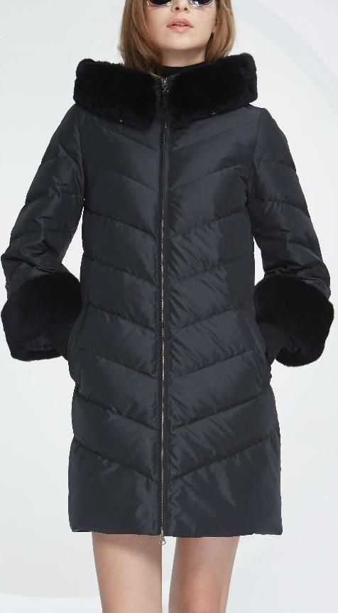 Rabbit Fur-Trimmed Puffer Down Coat, Black