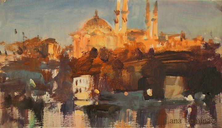 Orient Night. Istanbul. Acrylic by Lana Temina  #istanbul #paintings  #art