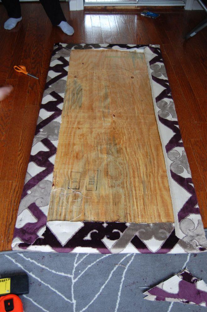 DIY fabric headboard Good idea for guest room