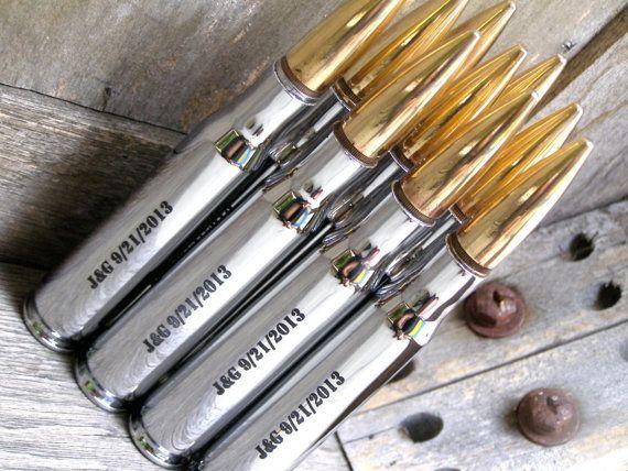 Groomsmen Gifts 10 Engraved Chrome 50 Caliber by BottleBreacher