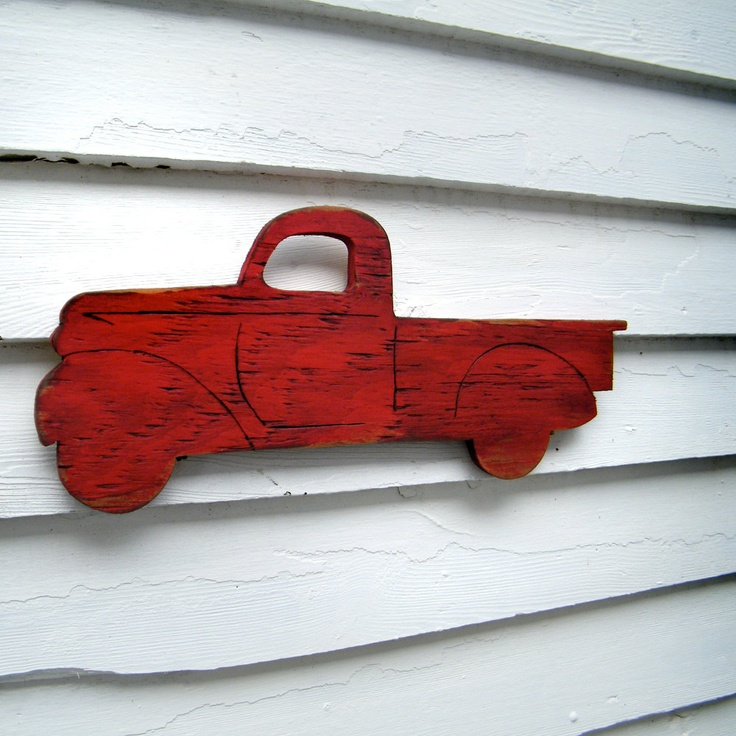 Pick Up Truck Sign Wooden Vintage Era Red Wall Art for my son's room