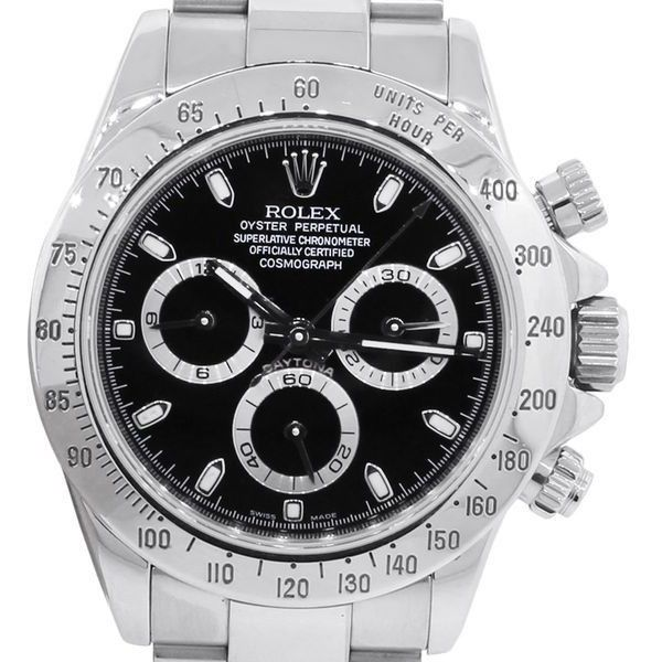 Pre-Owned Rolex 116520 Daytona Black Cosmograph Dial Watch (270170170 BYR) ❤ liked on Polyvore featuring men's fashion, men's jewelry, men's watches, white, rolex mens watches, men's white dial watches, mens black face watches, mens stainless steel watches and pre owned mens rolex watches