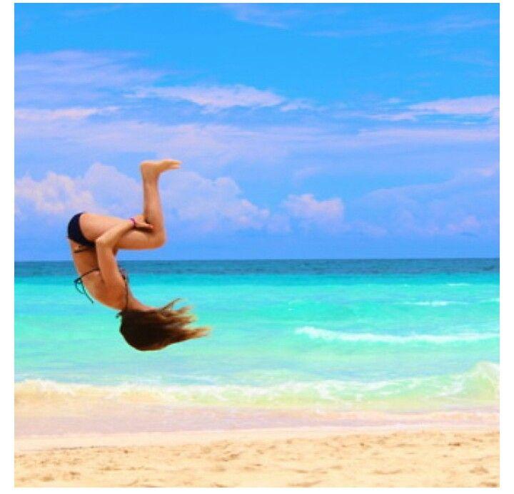 Back tuck. #cheer #cheerleading #tumbling #beach
