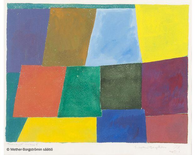 Ernst Mether-Borgström: Cross Section Minus II, 1978, guassi, 23x30 cm - Mether-Borgströmin säätiö 2016