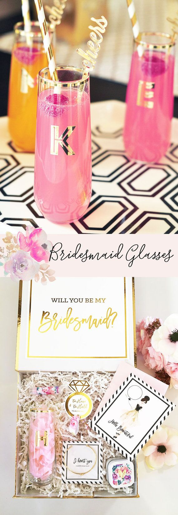 Personalized Glasses Bridal Party Glasses Monogram by ModParty