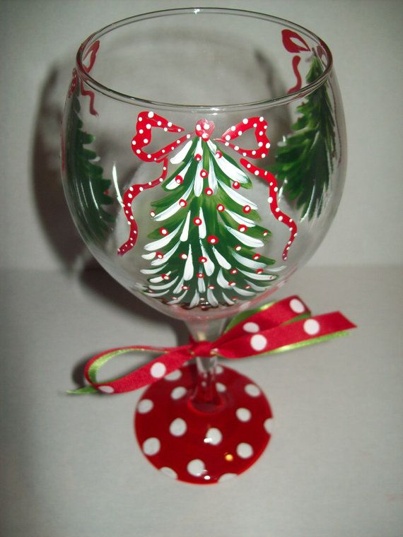 Christmas Tree wine glass by flybuttercreations on Etsy, $18.00