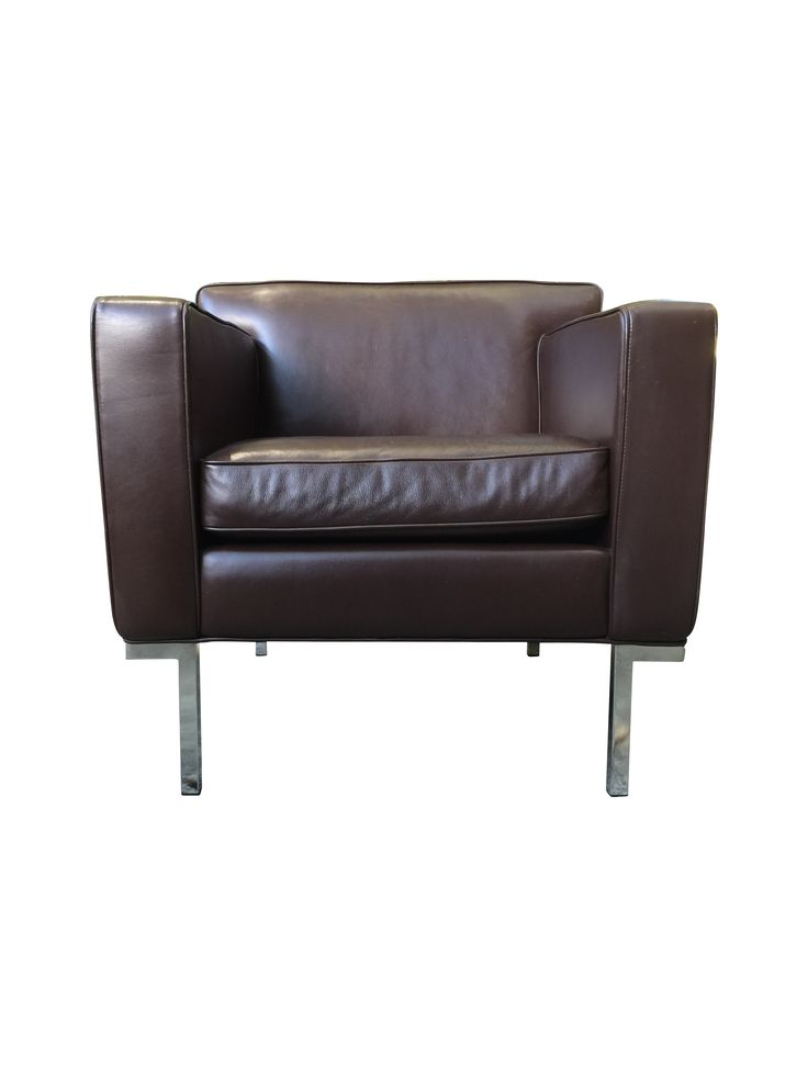 dwr theatre brown leather armchairs a pair