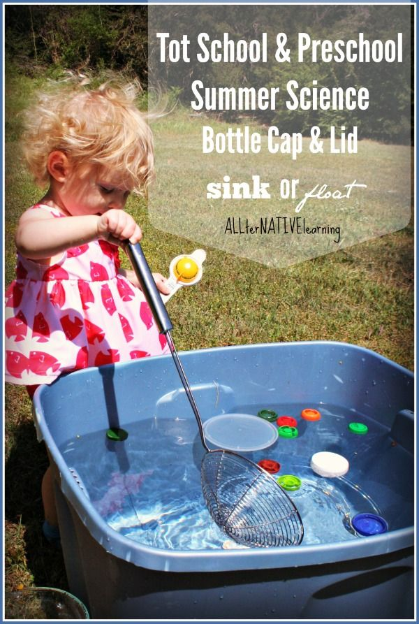 Sink or Float Bottle Caps Summer Science Activity | Preschool and Tot School Ideas from ALLterNATIVElearning